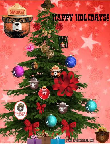 Christmas tree with smokey Bear ornaments