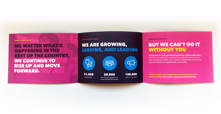 Photograph of printed mailer for Planned Parenthood.