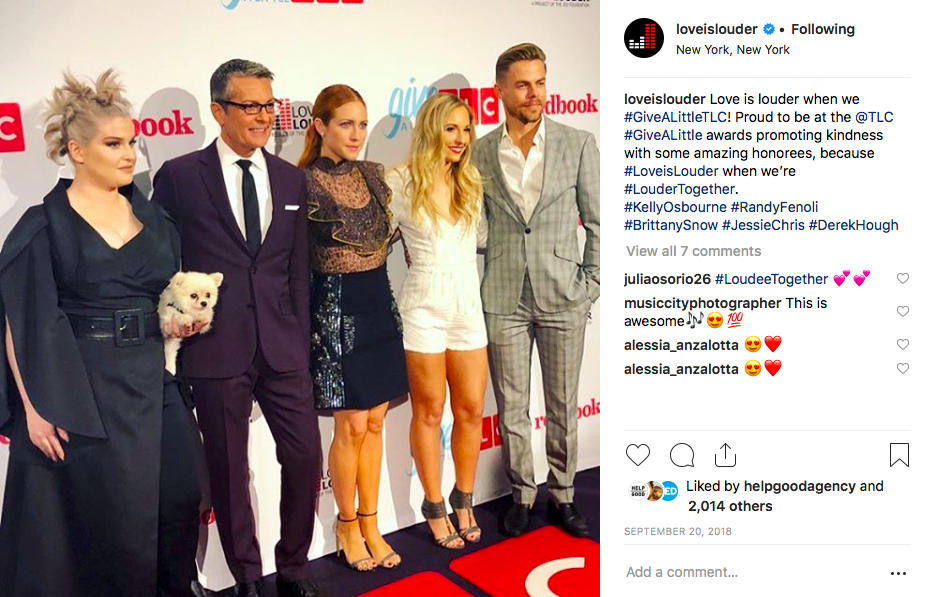 Screenshot of instagram post featuring Kelly Osborne, Randy Fenoli, Brittany Snow, Jessie Chris, and Derek Hough at the TLC Givealittle Awards